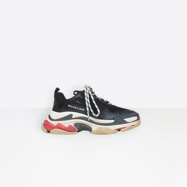 Triple S Trainers Black Red in 2019 | Sneakers, Balenciaga