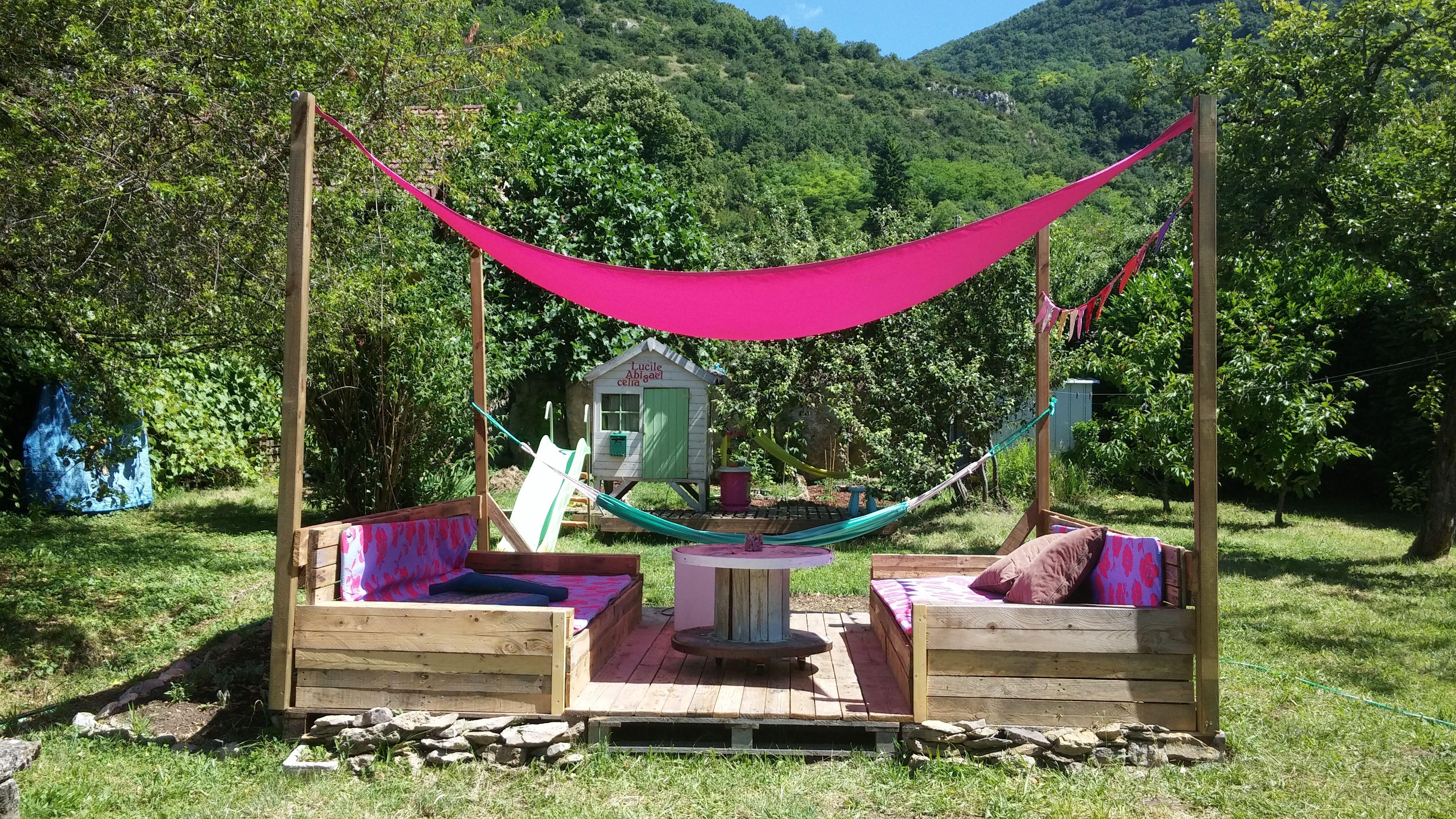 la d tente la tha landaise inspiration diy r cup tuto terrasse palette pergola banquette. Black Bedroom Furniture Sets. Home Design Ideas
