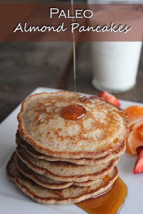 Almond pancakes     1 ¾ cup almond flour     2 eggs, whisked     ½ tsp salt     1 tsp vanilla extract     ½ tsp cinnamon     ¼ tsp Nutmeg     2/3 c almond milk (or water!)