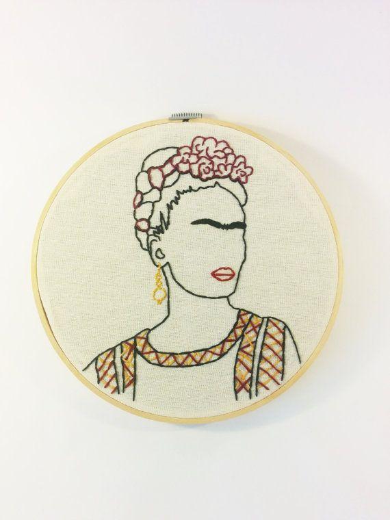 Frida Kahlo esquema 8 bordado aro arte del retrato | patches // pins ...
