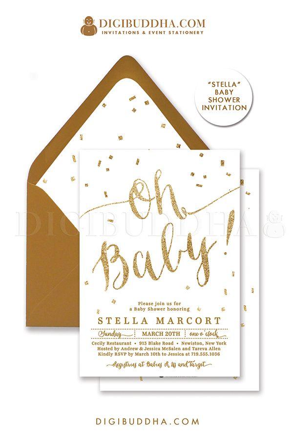 Oh Baby Elegant White And Gold Glitter Gender Neutral Baby Shower Baby Shower Invitations Diy Diy Baby Shower Invitations Girl Confetti Baby Shower Invitation