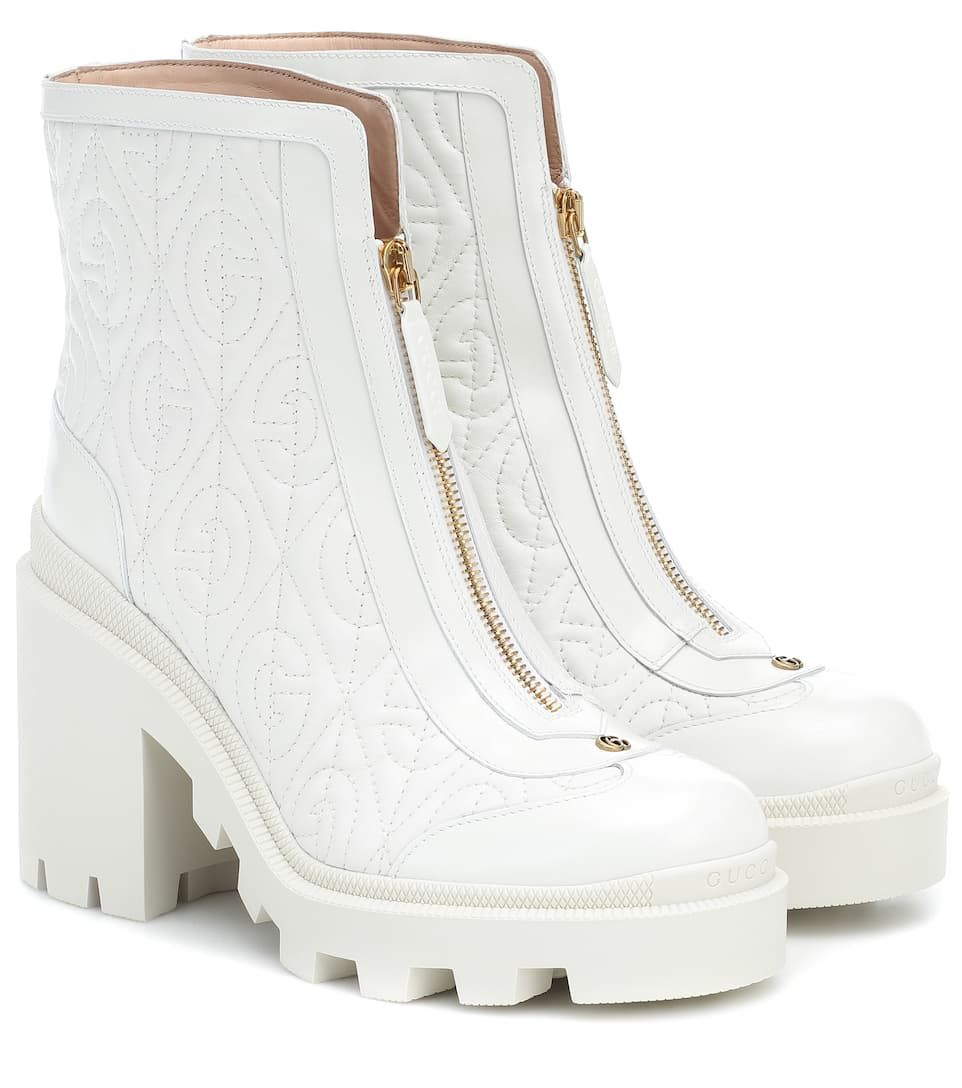 Leather Ankle Boots in White | Gucci in