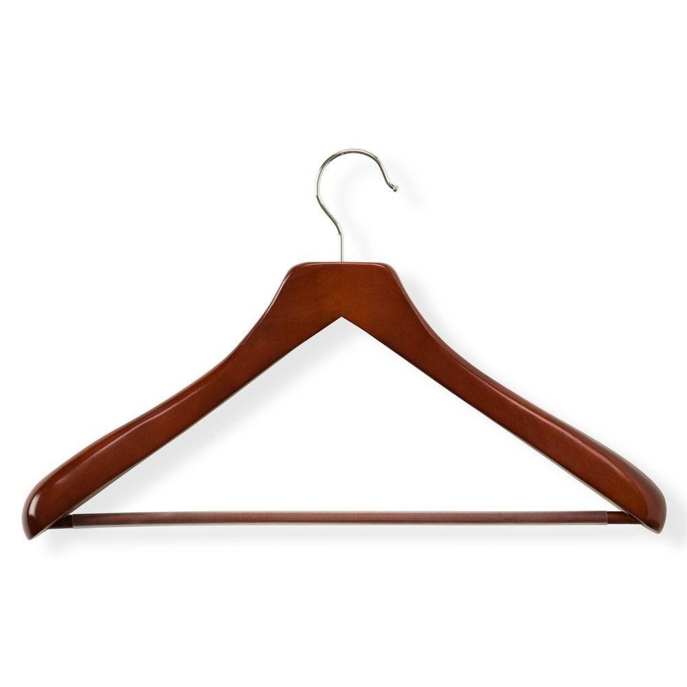 Honey Can Do Cherry Finish Deluxe Contoured Suit Hanger With Non Slip Bar 2 Pack Suit Hangers Hanger Bar Set