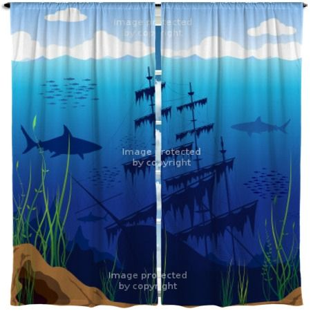 These Shark Underwater Window Curtains add a fun mysterious vibe ...