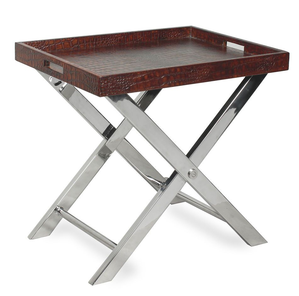 serving tray table brown crocodile emboss leather chrome legs new ships free sarreid classic. Black Bedroom Furniture Sets. Home Design Ideas