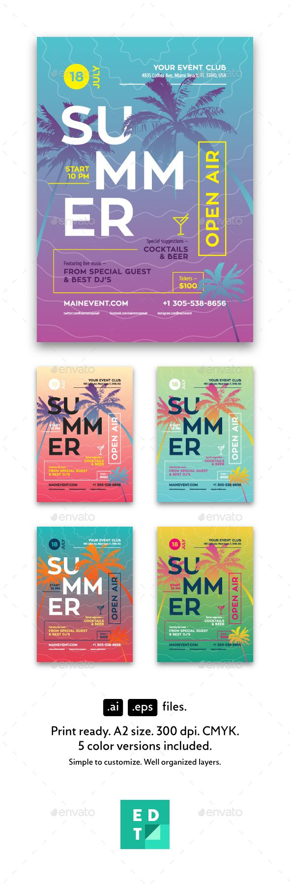 Summer Flyer/Poster Template | Template, Ai illustrator and Flyer ...