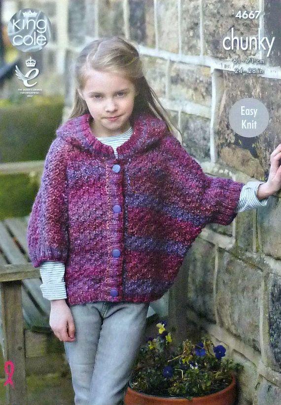 Girls knitting pattern k4667 girls easy knit short sleeve hooded girls knitting pattern k4667 girls easy knit short sleeve hooded poncho knitting pattern chunky bulky dt1010fo