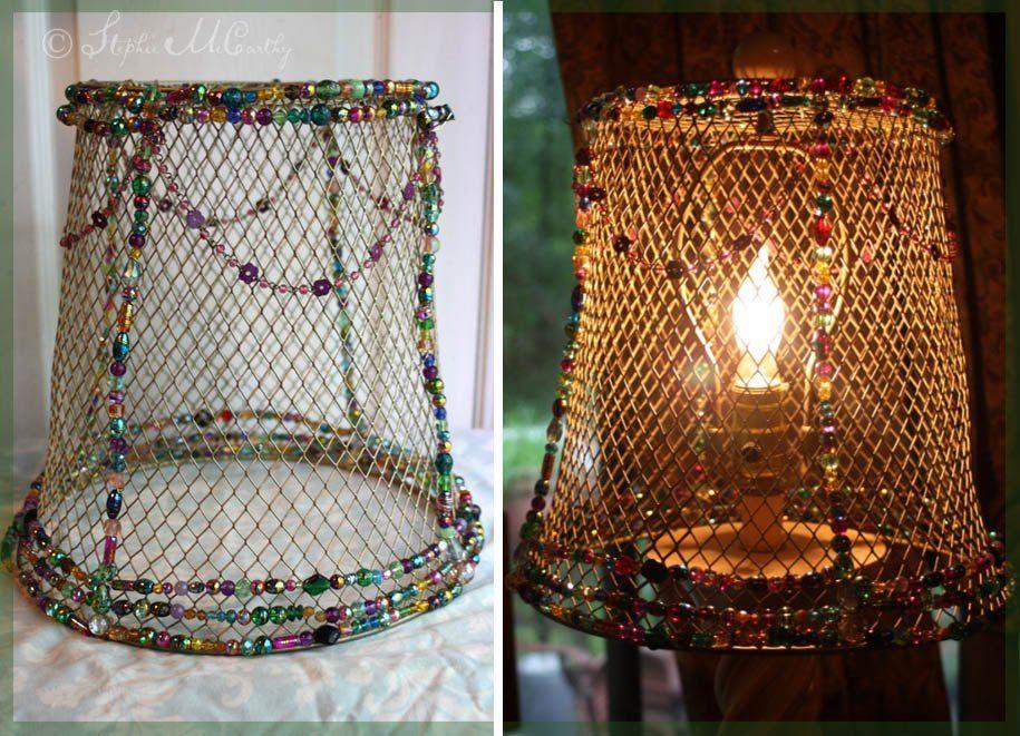 Easy Beaded Basket Lampshade Lamp Shades Colorful Lamp Shades Diy Drum Shade