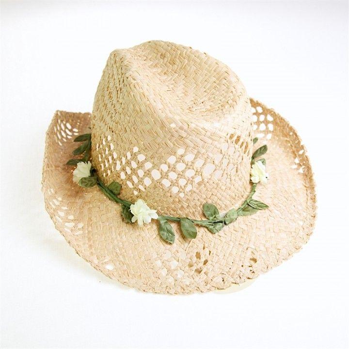 Sunuva Cowboy Hat with Flower Garland   Sand Dollar Dubai - Beach / Swimwear Online Store