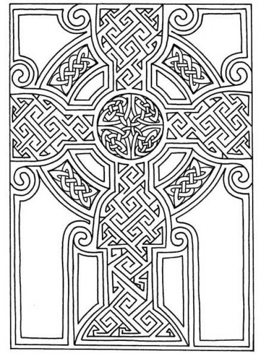 Abstract Cross Coloring Pages : Advanced coloring page of celtics mosaic art to print for