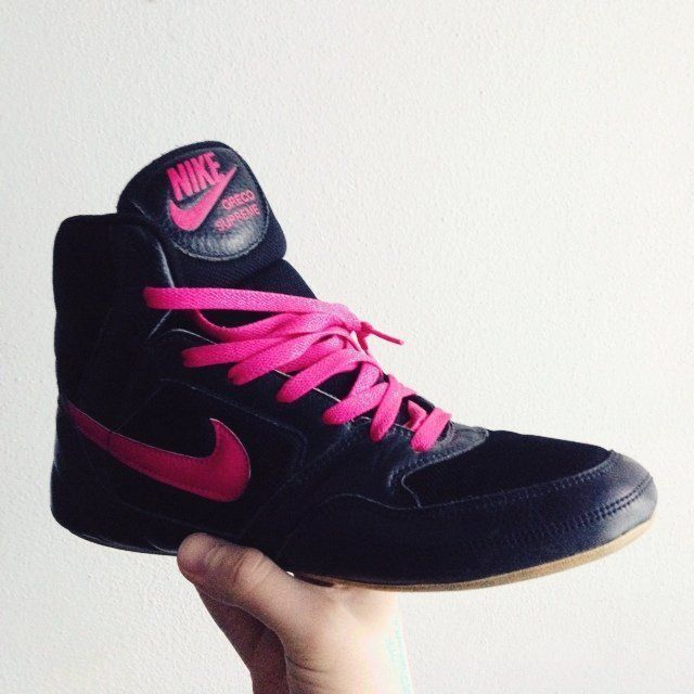 size 40 13a89 4a0d0 RARE Nike Greco Supremes Wrestling Shoes Pink Black   eBay