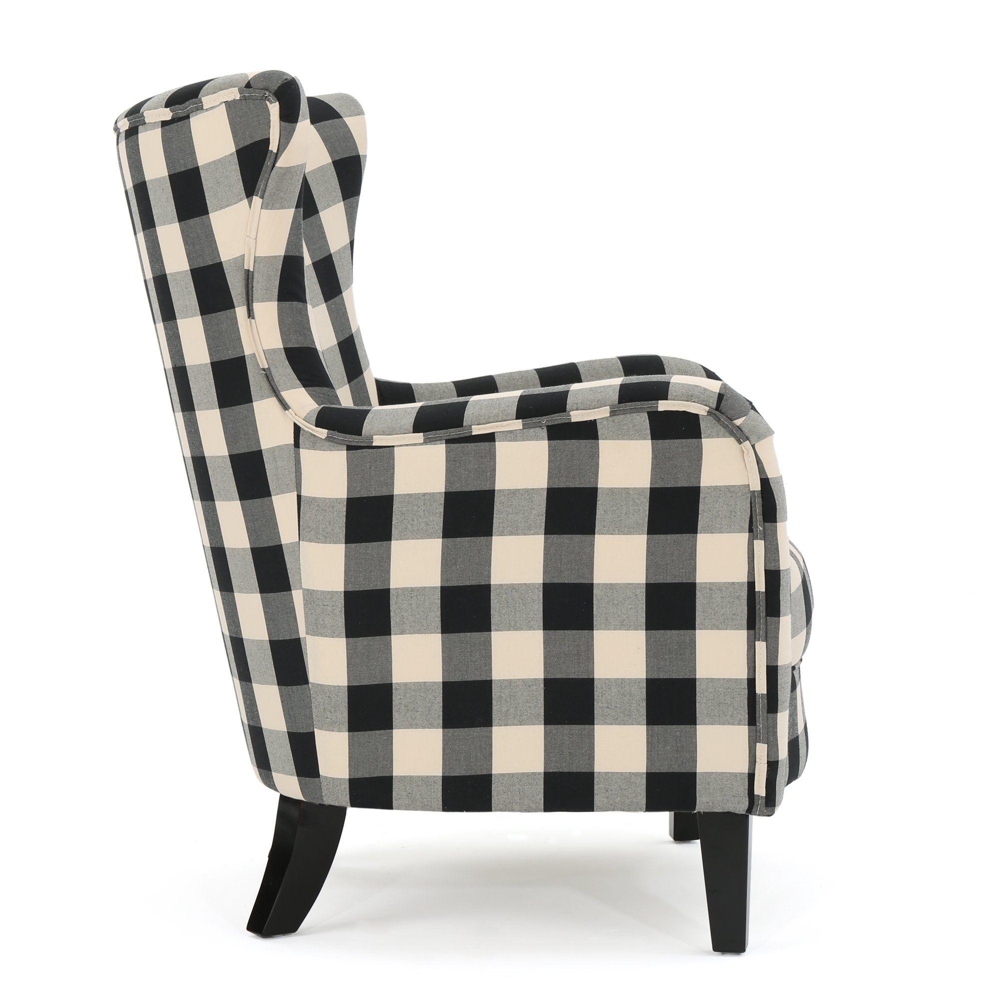 black buffalo plaid accent chair