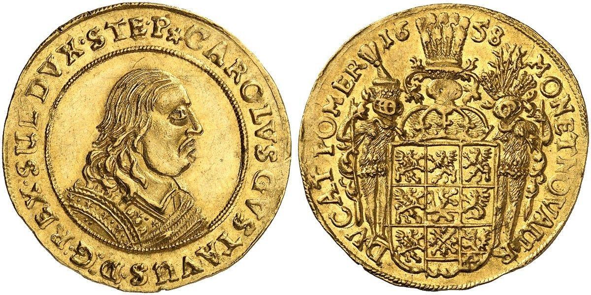 German States/Pommern/Swedish Occupation AV 2 Dukaten 1658 Stettin Mint Karl X Gustav 1654-60 of Sweden