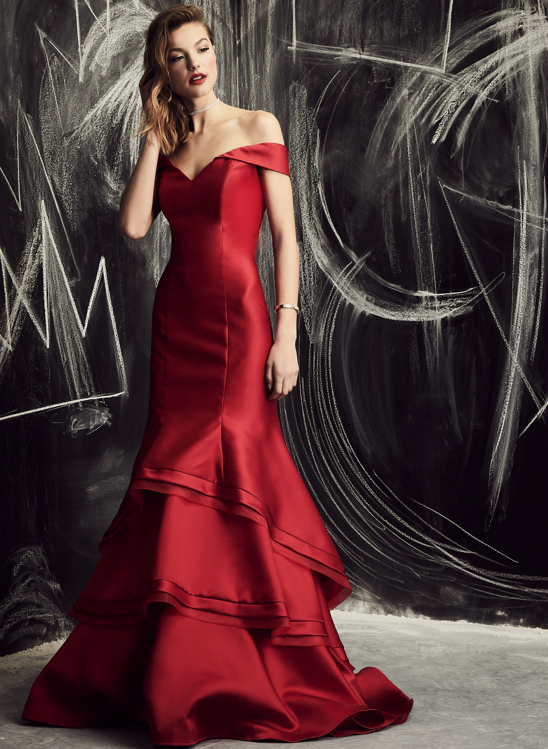 Xscape - Off The Shoulder Layered Mermaid Gown , Red, hi-res ...