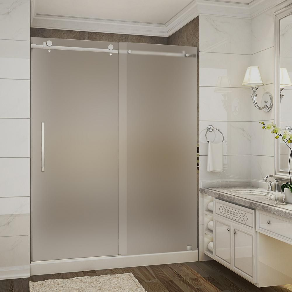 Aston Moselle 60 in. x 32 in. x 77.5 in. Completely Frameless Sliding Shower Door with Frosted in Chrome with Center Base-SDR976F-TR-CH-60-10-M - The Home Depot