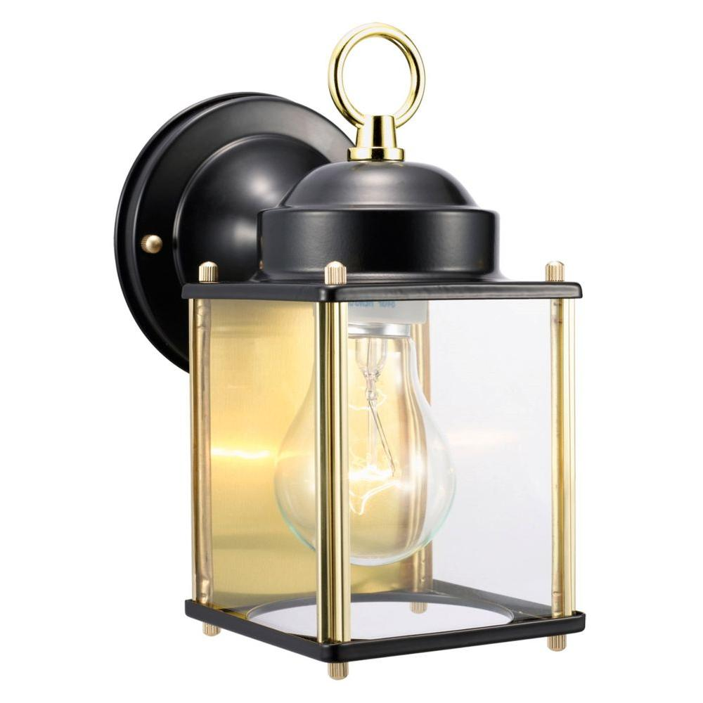 Coach Polished Brass and Black Outdoor Wall-Mount Downlight | Brass ...