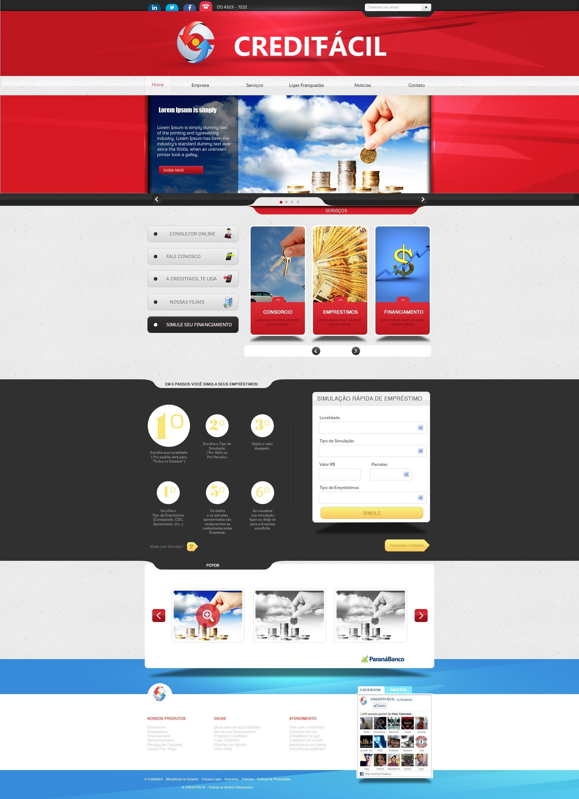 Layout Craditfacil By Danielsnows Webdesign Layout Web Design Franchise Companies