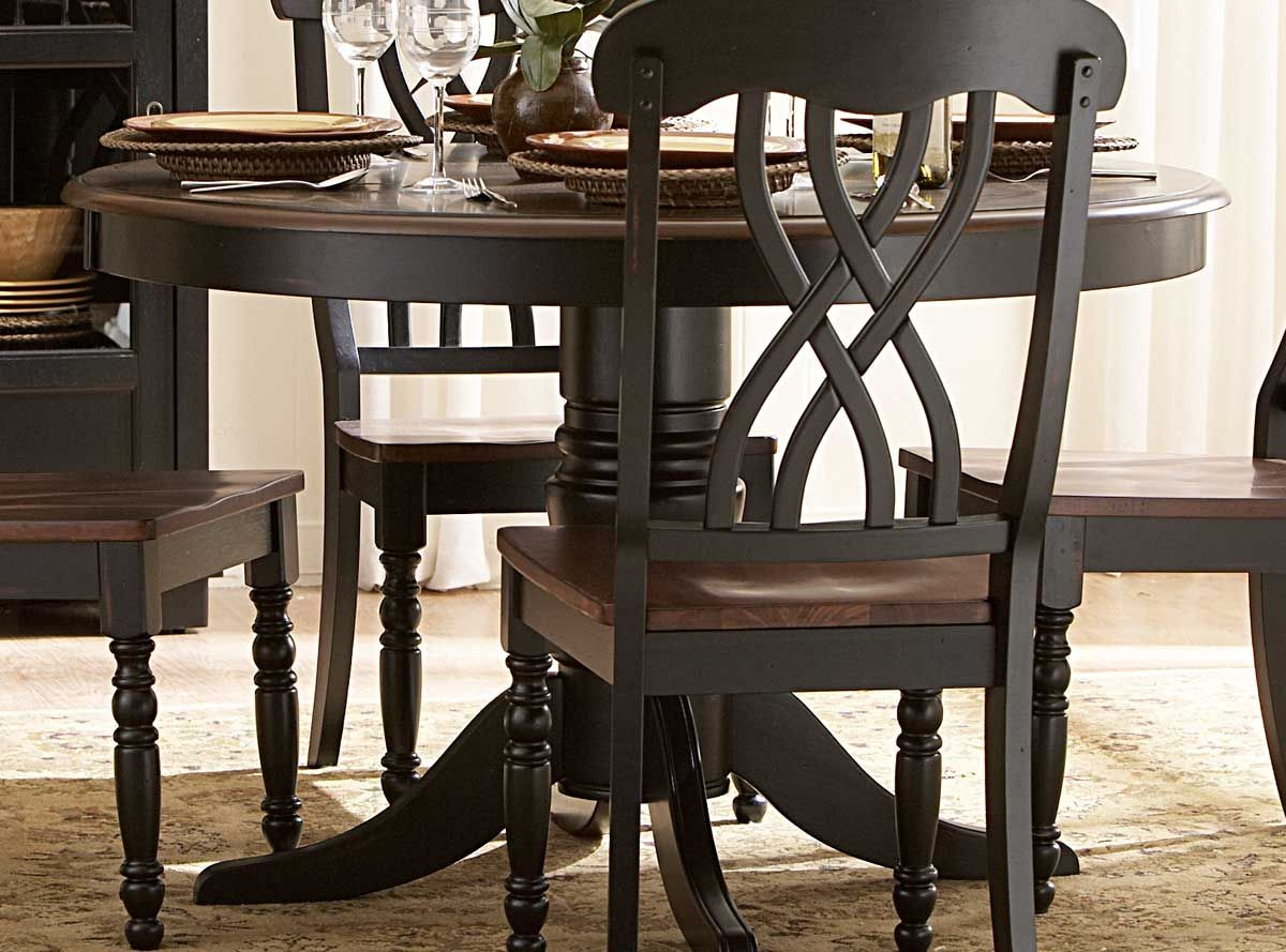 Gather family and friends for weekend soirees or casual meals with this classic rubberwood dining set featuring 4 sleek side chairs with openwork backs a. & Homelegance Ohana 48in Round Dining Table - Black $354.00 : http ...
