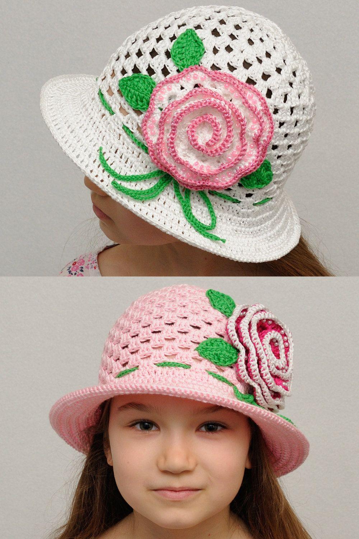 Floral Crochet summer hat Girls sun hat hat with rose Girls summer hat with  brim Crochet girls hats Beach hat girls accessories Photo Prop (26.00 USD)  by ... 52ee0731089