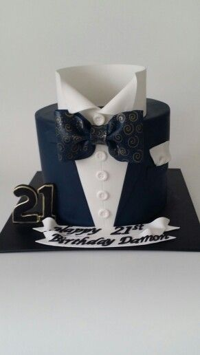 Shirt With Bow Tie Suit 21st Cake Novelty Cakes