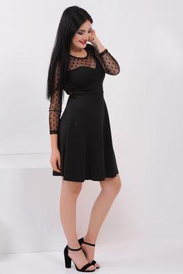 1673e2b327f1e Detayları Göster Kollar Tül Sırt Dekolte Siyah Elbise | Elbise ...