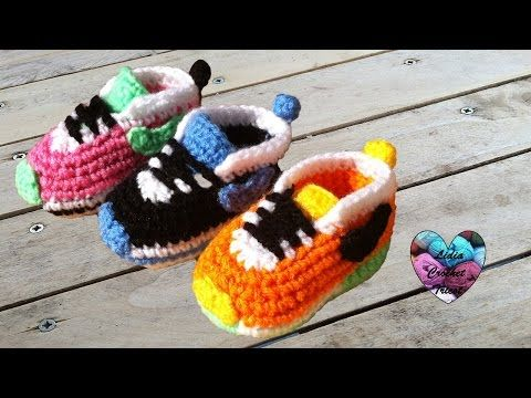 Baskets Nike bébé crochet 1 3   Nike sneakers crochet (english subtitles) -  YouTube. How to Crochet baby booties style Nike shoes ... b79965a94