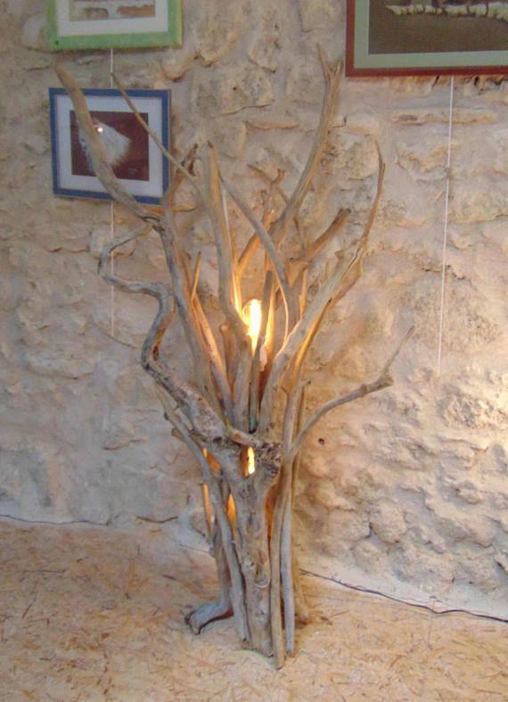 Lampadaire En Bois Flotte Driftwood In 2019 Wood Lamps Wood Art