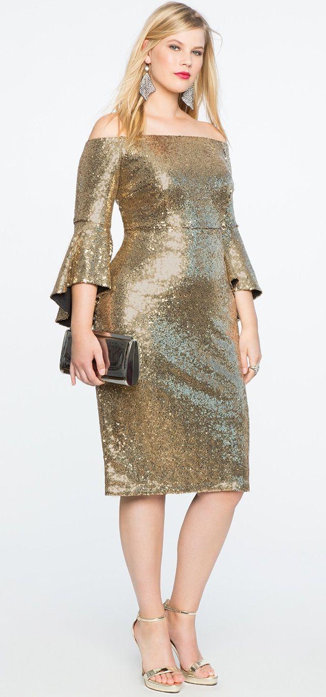 Plus Size Sequin Off the Shoulder Dress #plussize #cocktaildress ...