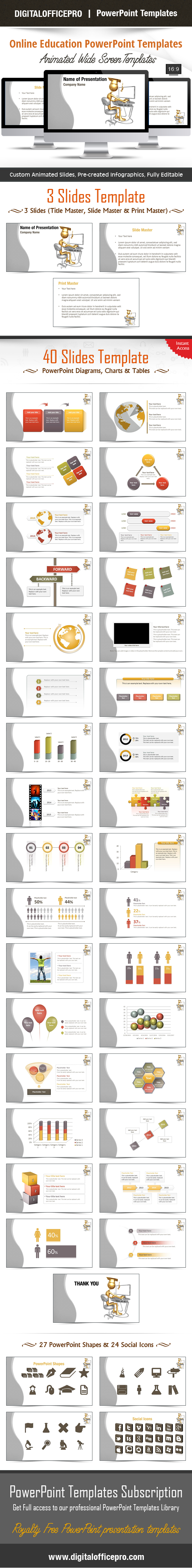 Impress and Engage your audience with Online Education PowerPoint Template and Online Education PowerPoint Backgrounds from DigitalOfficePro. Each template comes with a set of PowerPoint Diagrams, Charts & Shapes and are available for instant download.
