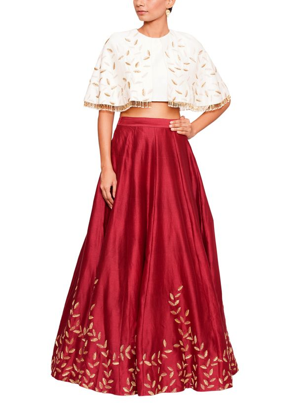 be2779fd3 Salt and Spring by Sonam Jain | Embroidered Maroon Skirt and Blouse Set |  Shop Lehengas at strandofsilk.com