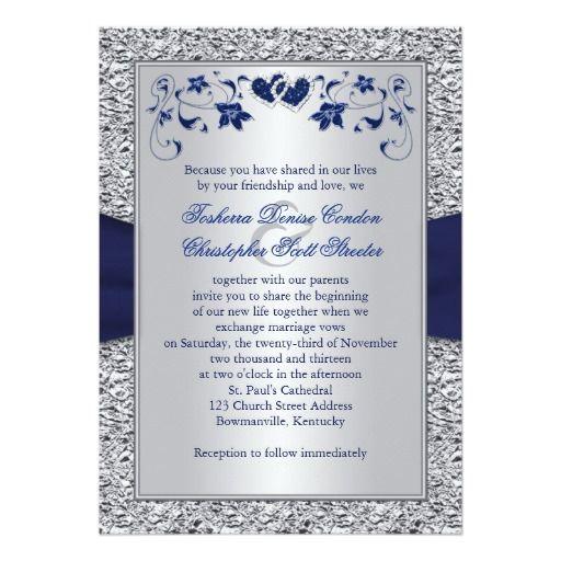 Navy silver floral hearts faux foil wedding invite 5 x 7 navy silver floral hearts faux foil wedding invite 5 x 7 invitation card zazzle stopboris Gallery