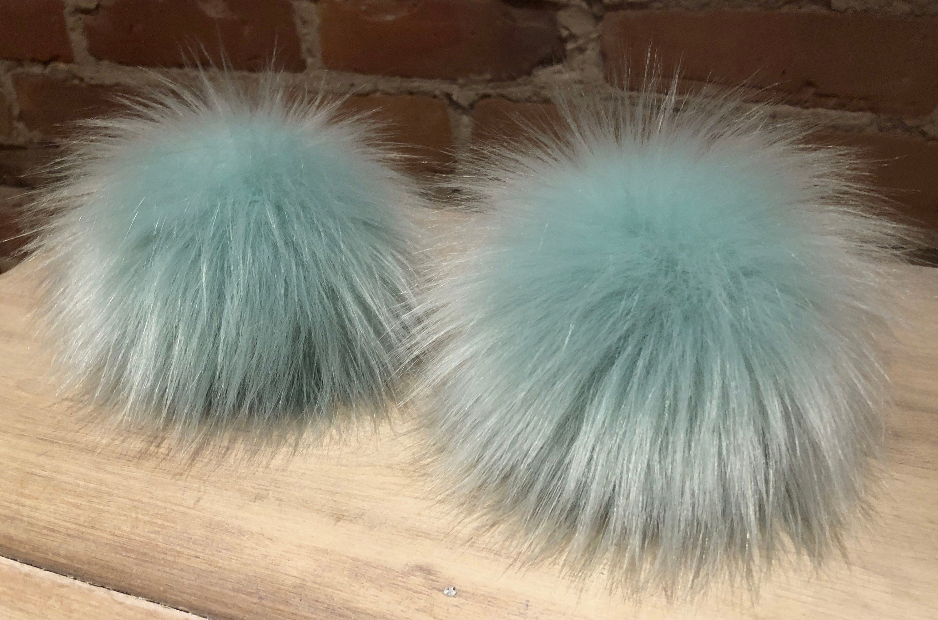 Super Luxury Faux Fur Fabric Material GREY BLUE MIX