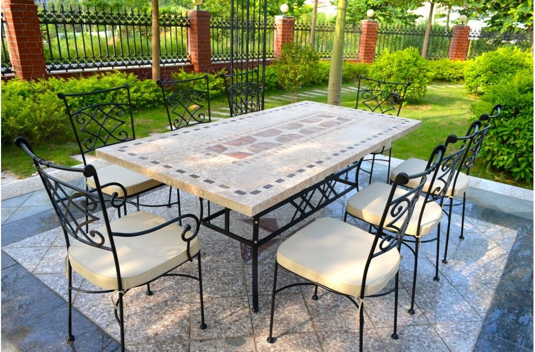 table de jardin mosa que en pierre naturelle tampa 160 et. Black Bedroom Furniture Sets. Home Design Ideas