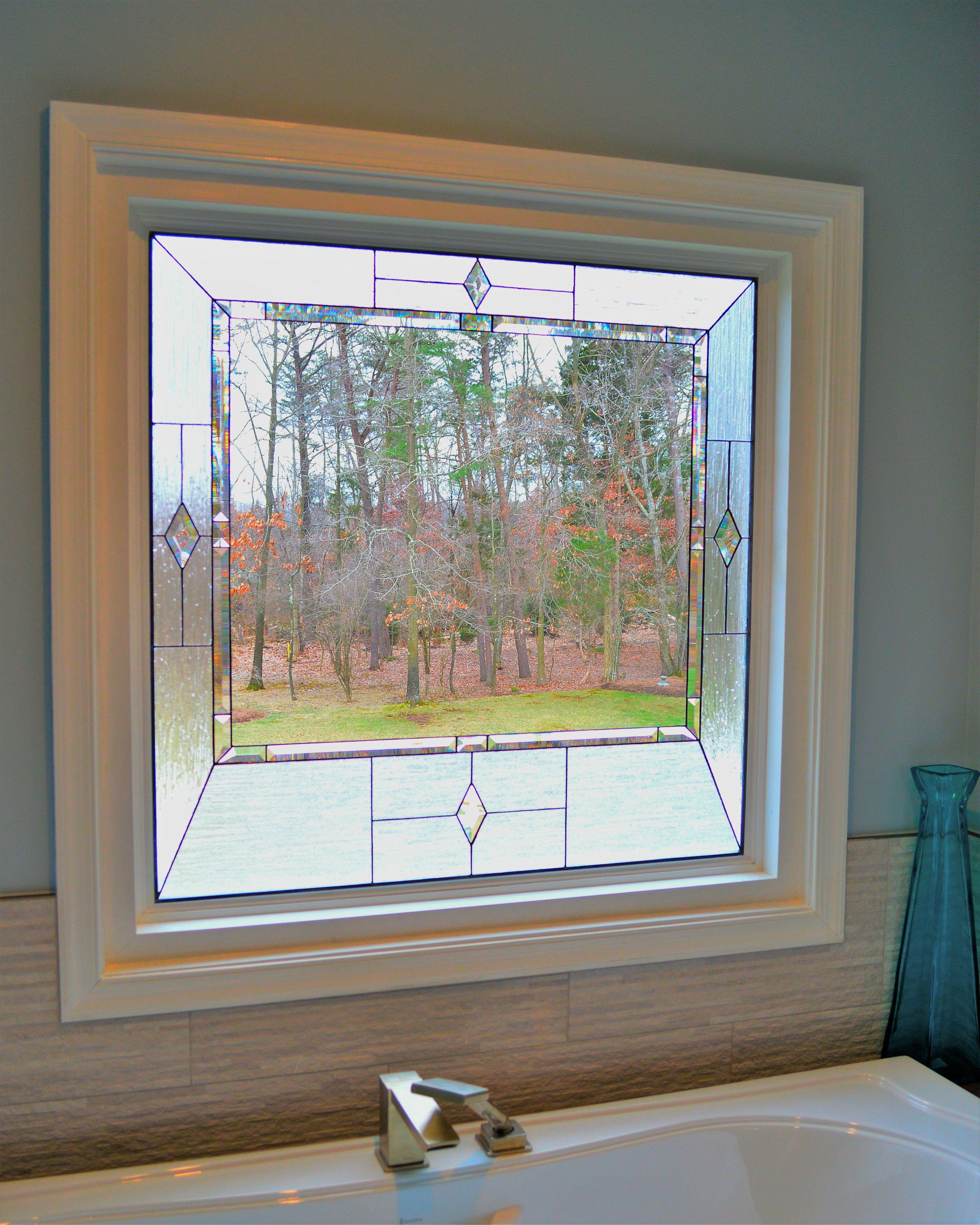 decorative glass bathroom windows traditional combo haalstead bath stained glass window panel  stained glass window