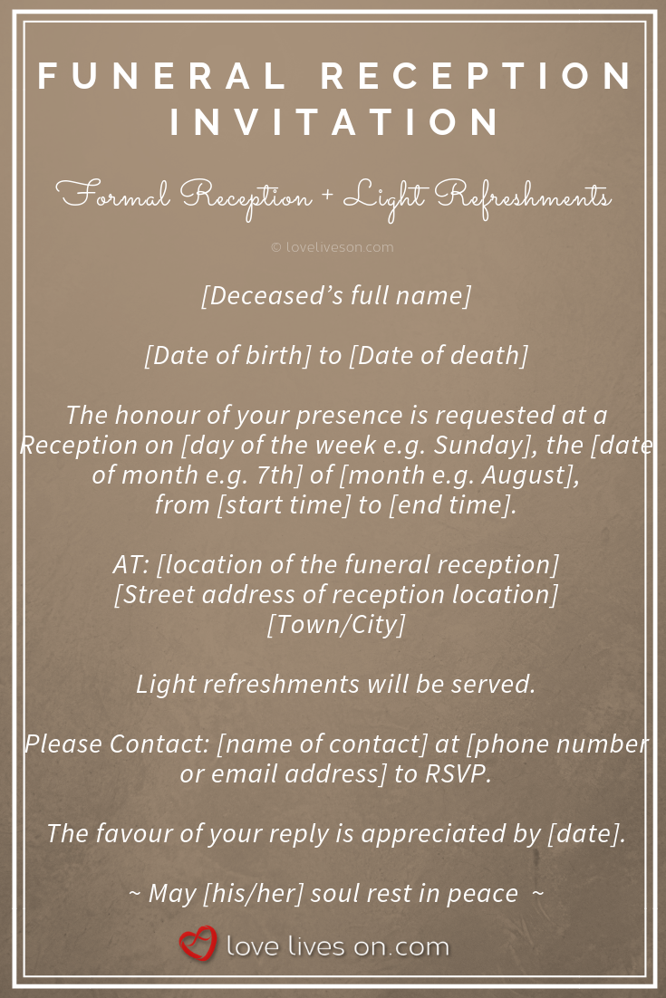 39 Best Funeral Reception Invitations Funeral Reception Funeral