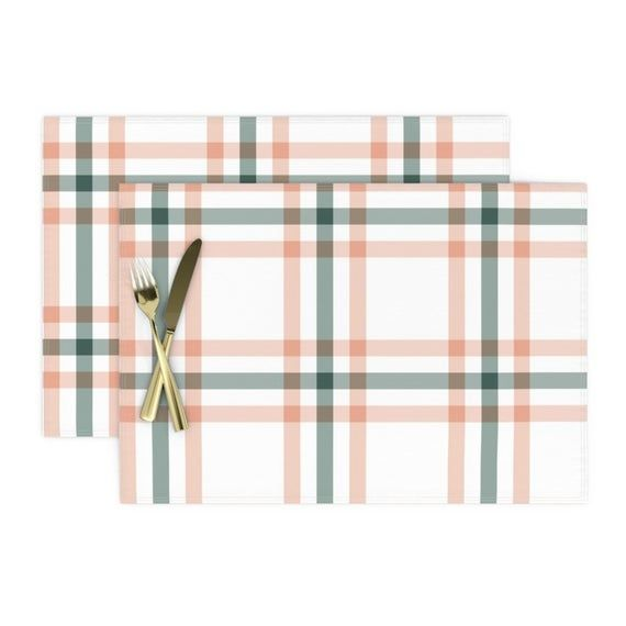 Plaid Placemats (Set of 2) - Sage & Coral Plaid by the_lemon_bee - Tartan  Country Farmhouse Nursery