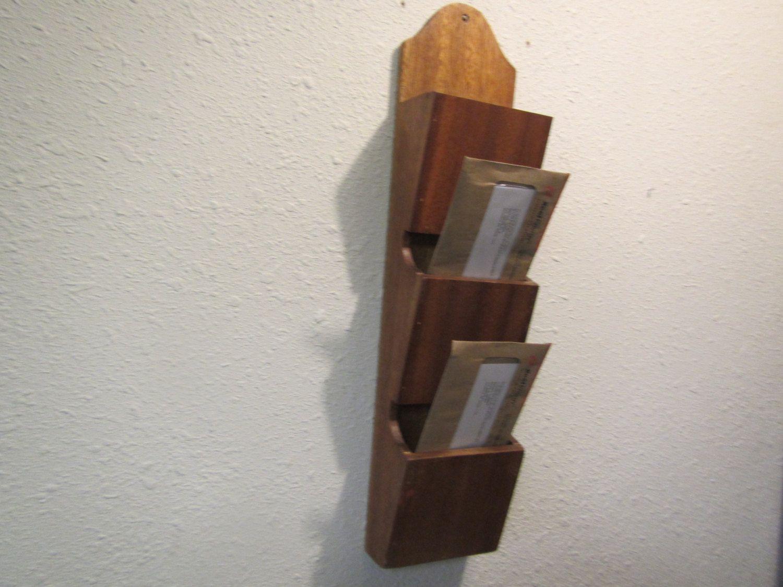 Wood Mail Holder 3 Section Mail Organizer Wall Mount Letter Shelf Bill Organizer Shelf By Mauryscollectibles Bottle Opener Wall Vintage Wood Shelf Holders