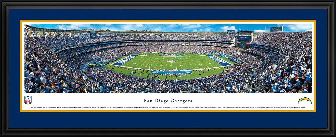 San Diego Chargers Panoramic - Qualcomm Stadium Picture Framed
