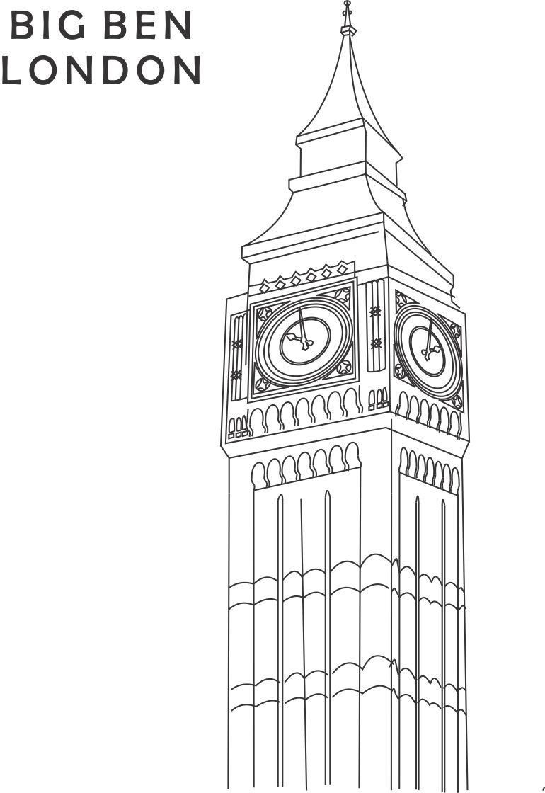 Big Ben coloring printable page for kids 1 Big Ben
