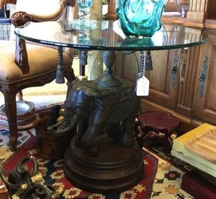 Exceptional Elephant Base Accent Table With Glass Top. Royal Indian Elephant  Supports The Top On A Frame Of Molded Tassels. Cast Metal With Bronze  Finish On ...