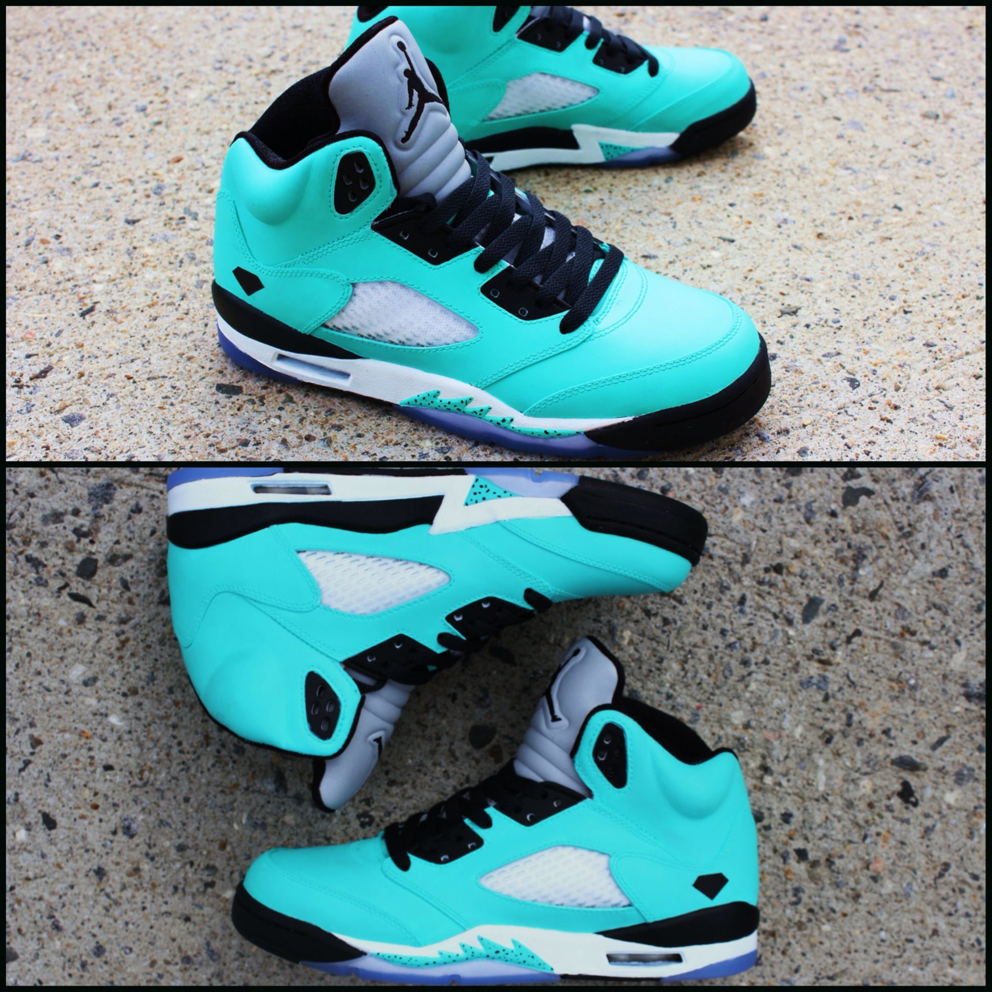 online store d1ea6 cb534 Custom Air Jordan 5  TIFFANY BLACK DIAMOND  Sneakers. Featuring A Tiffany  Blue Base That Add A Black-Diamond Logo On The Sides Sitting Atop An Icy  Blue ...
