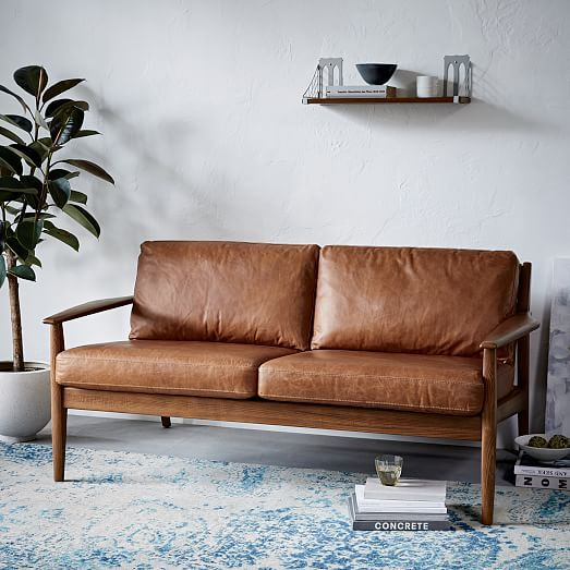West Elm Mathias Mid Century Wood Frame 2 Seater Sofa In Saddle Leather 1 500 On For 200