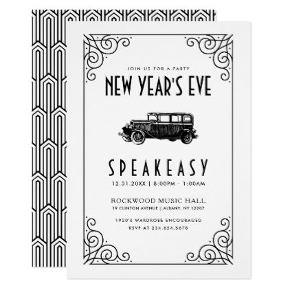 new years eve party invitation 1920s speakeasy invitations personalize custom special event invitation idea style party card cards