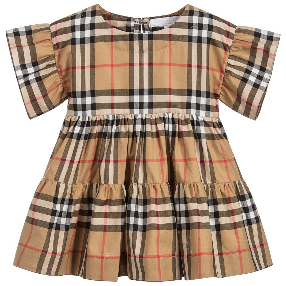 Baby girls clothes red tartan smocked dress 0-9 months