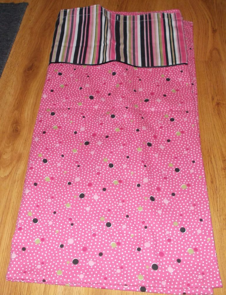 WAVERLY Fabric Shower Curtain PINK Multi DOTS & STRIPES Bath 70 x ...