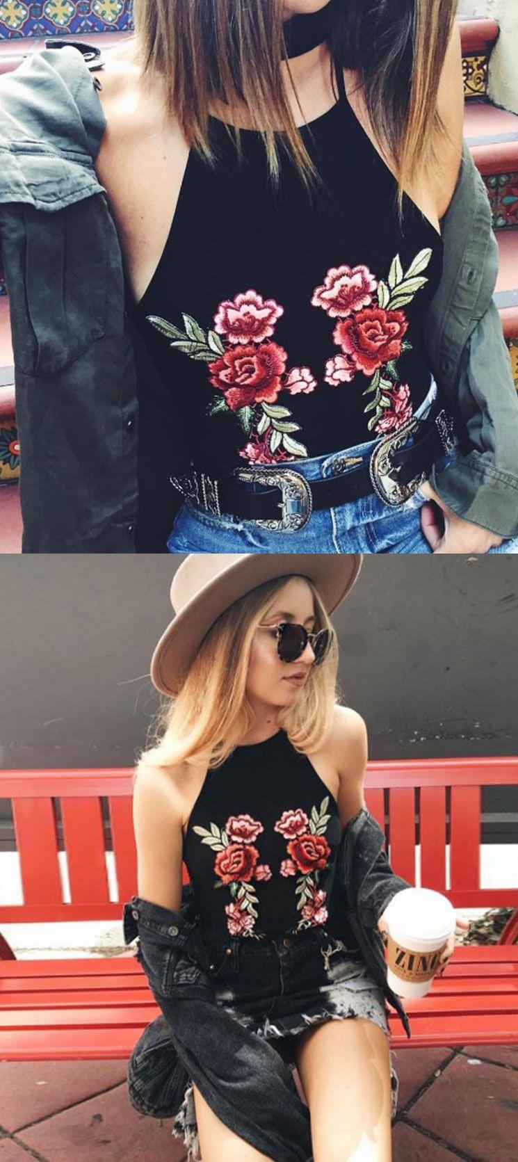 Rose halter embroidery black scrop tops tank topsgrils tank tops