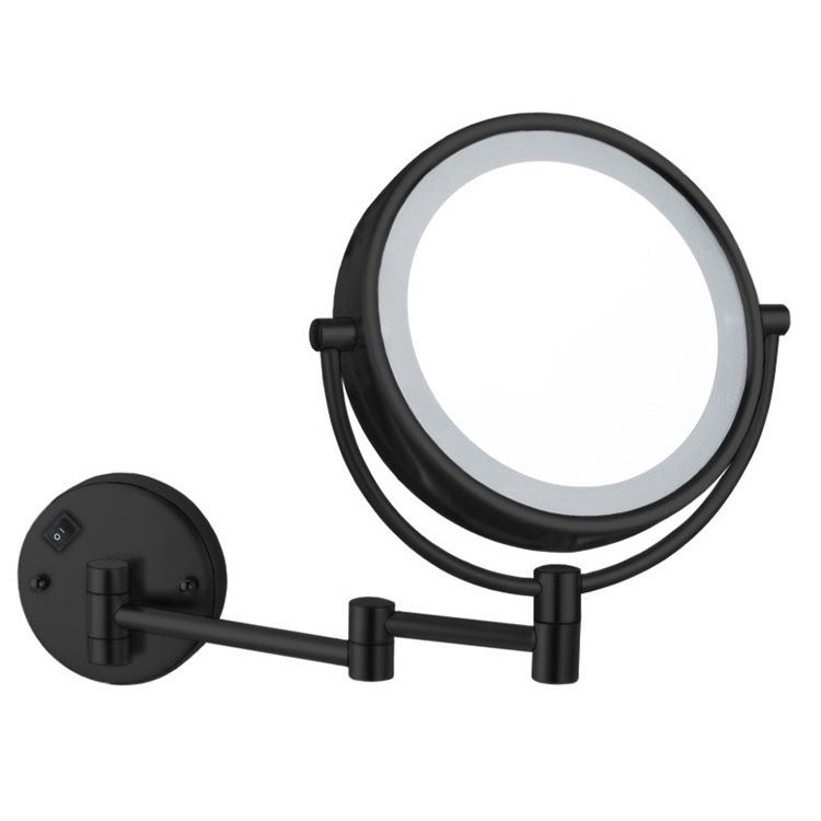 Matte Black Double Face Led 5x Magnifying Mirror Hardwired Wall