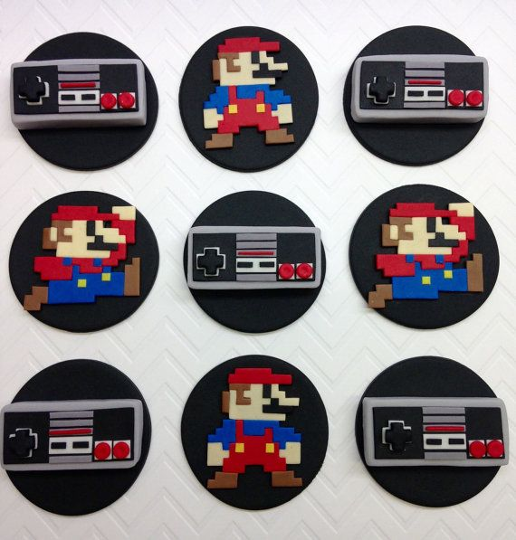 Fondant Mario Cupcake Topper, Nintendo Cupcake Topper, Super Mario, 8 Bit Mario, Super Mario Birthday, Nintendo Birthday, Super Mario Party