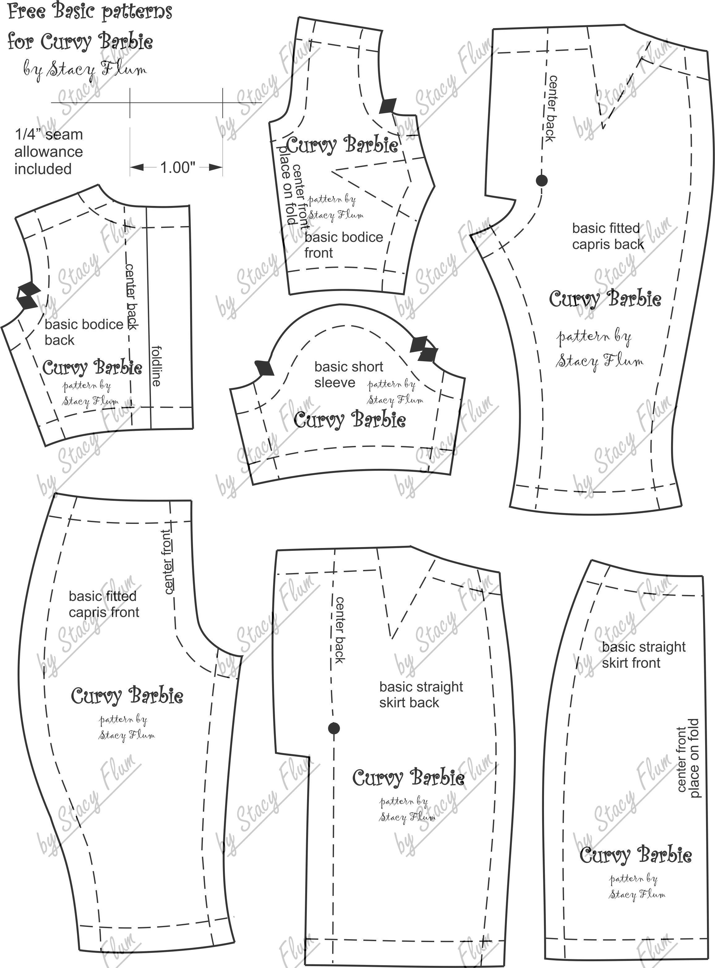 Easy Barbie Clothes Patterns : barbie, clothes, patterns, Pattern, Curvy, Barbie., Barbie, Clothing, Patterns,, Clothes, Patterns, Free,, Sewing