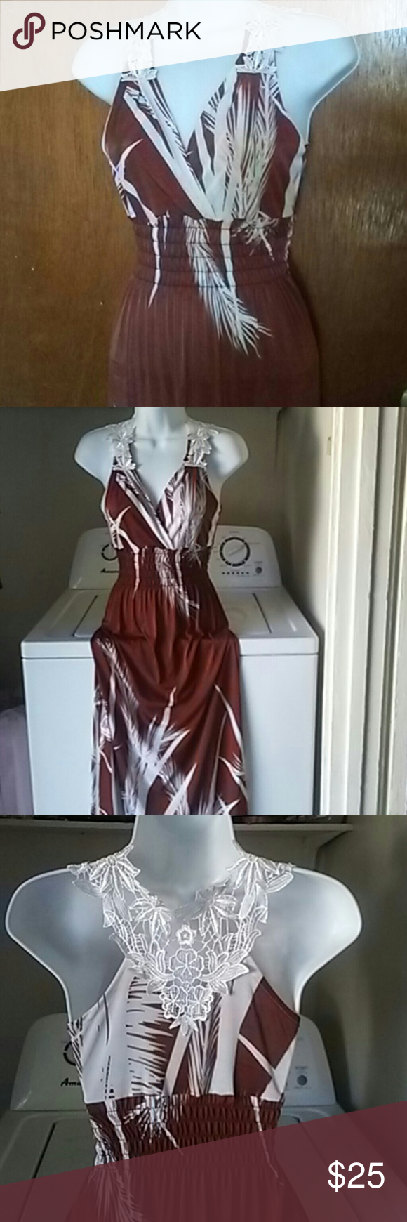 Long maxi dress Brown and white maxi dress with beautiful white embroidery on the shoulders and back. Cinched waist . this is brand new. BCBGMaxAzria Dresses Maxi